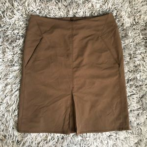 Nau a-line skirt brown pleated front pockets